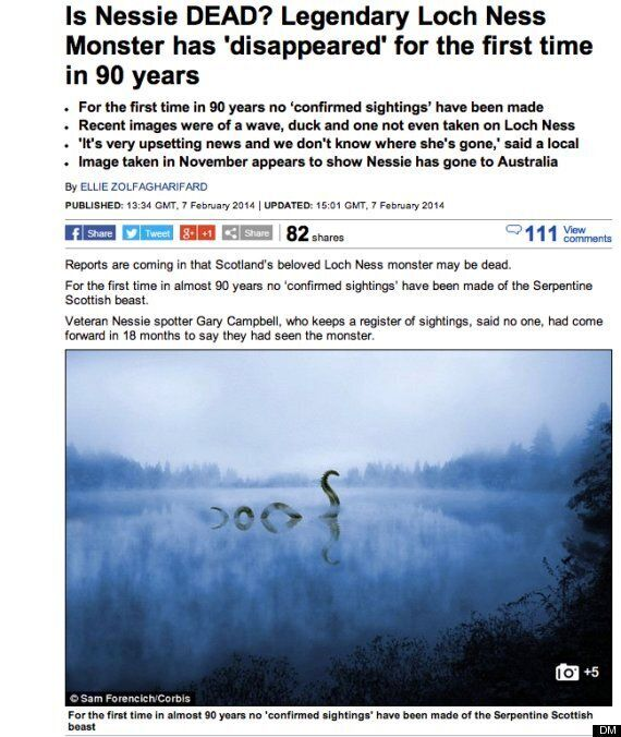 Is The Loch Ness Monster Dead? Is This Newspaper Headline A