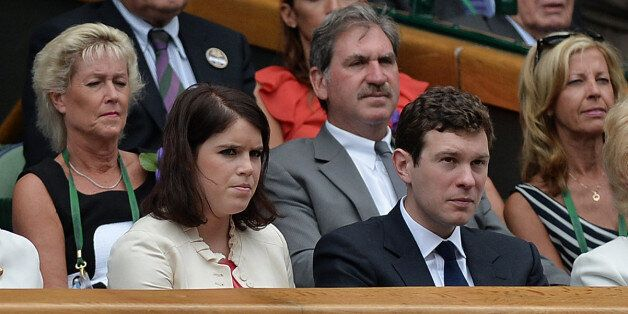 Princess Eugenie and her boyfriend Jack Brooksbank in the Royal Box to watch the Ladies' singles Final...