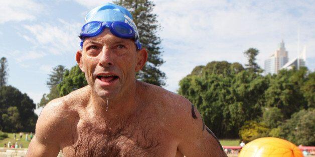 SYDNEY, AUSTRALIA - JANUARY 26: Opposition leader Tony Abbott completes the Body Science Great Australian...