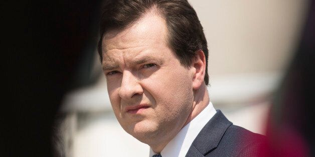 George Osborne, U.K. chancellor of the exchequer, pauses as he tours the construction site of the Francis...