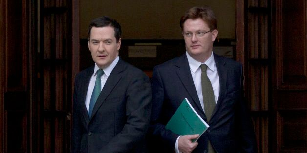 Chancellor of the Exchequer George Osborne and Chief Secretary to the Treasury Danny Alexander leave...
