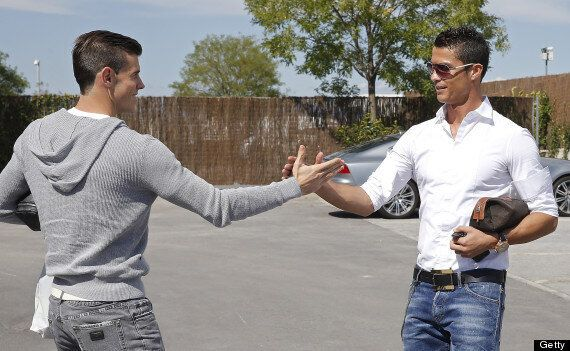 Cristiano Ronaldo Meets Gareth Bale At Real Madrid Training Ground