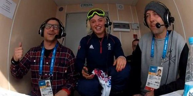 The BBC's commentary team during Jenny Jones' bronze medal triumph on