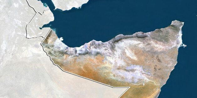 Satellite view of Somalia (with border and mask). This image was compiled from data acquired by LANDSAT...