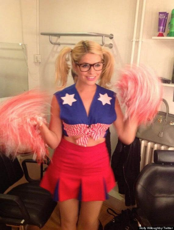Holly Willoughby Has Specs Appeal In Cheerleader Outfit On 'Celebrity Juice'