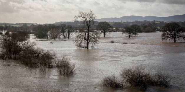 WORCESTER, ENGLAND - FEBRUARY 11: Flooded fields west of the River Severn are seen from the Carrington...