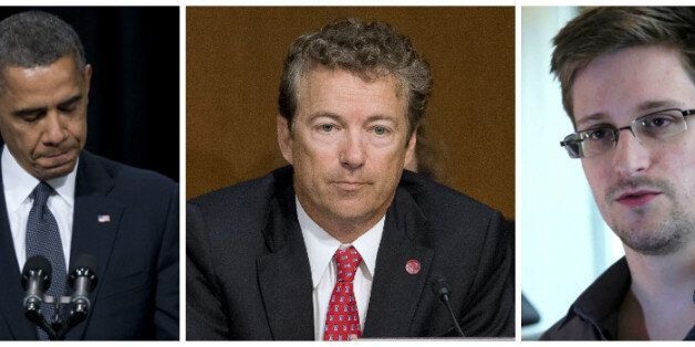 Rand Paul (centre) is bring the law suit against Barack Obama (left) following the Edward Snowden (right)