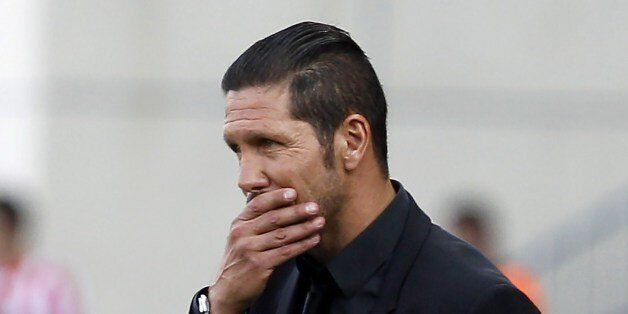 Atletico Madrid's Argentinian coach Diego Simeone reacts during the Spanish league football match Club...