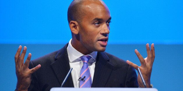 Britain's Shadow Business Secretary Chuka Umunna addresses delegates during the second day of the Labour...