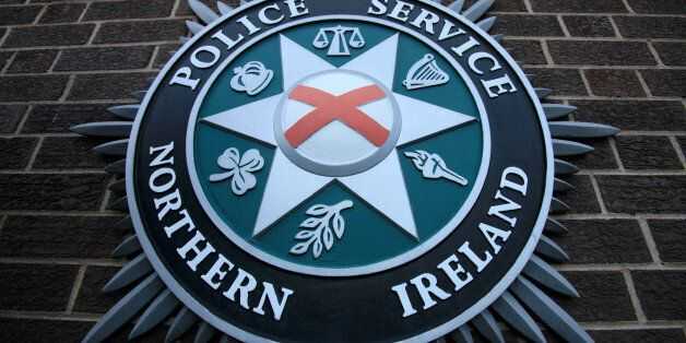 A coat of arms is pictured at the Police Service of Northern Ireland (PSNI) Headquarters in Belfast,...