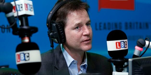 The Deputy Prime Minister Nick Clegg takes part in the first national 'Call Clegg' phone-in on LBC since...