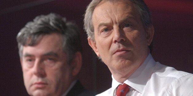 UNITED KINGDOM - APRIL 28: British Prime Minister Tony Blair, right, and U.K. Chancellor Gordon Brown...