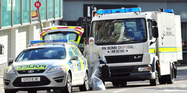A Royal Navy bomb disposal unit works at the scene where a suspect package was delivered at an Army recruitment...