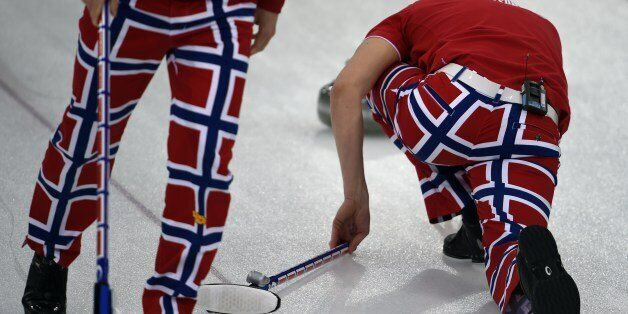Norway's team members wear their official paints displaying national