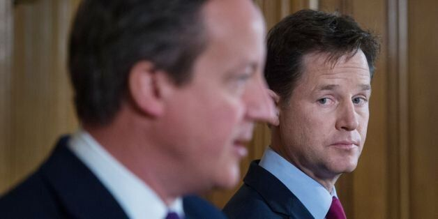 Prime Minister David Cameron and Deputy Prime Minister Nick Clegg hold a news conference at 10 Downing...