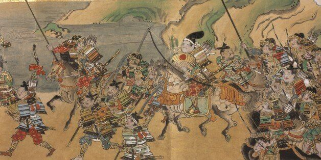 Japanese warriors and goblins, A Japanese tale of the Muromachi period (c.1390-1570) describing the exploits...
