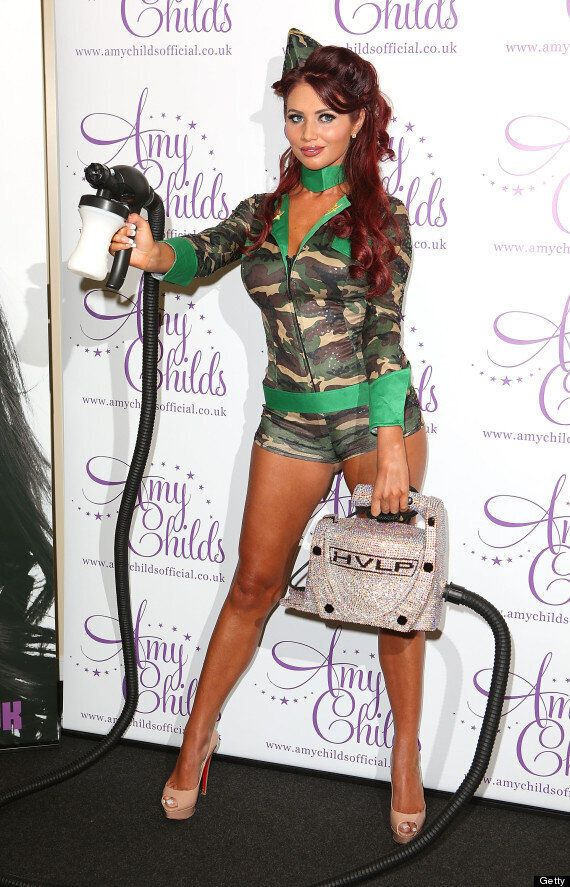 Amy Childs Dons Army Outfit At Latest Ridiculous Product Launch