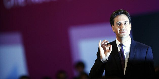 Britain's opposition Labour Party leader Ed Miliband delivers his speech on the third day of the Labour...