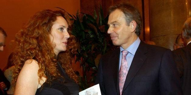 British Prime Minister, Tony Blair speaks to Rebekah Wade, Editor of the Sun, during the Newspaper Press...