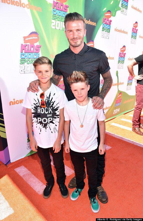 David Beckham Gunged At Nickelodeon Kids Choice Sports Awards With Sons Romeo And Cruz