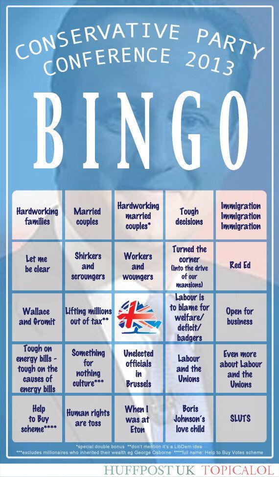Tory Party Conference Bingo