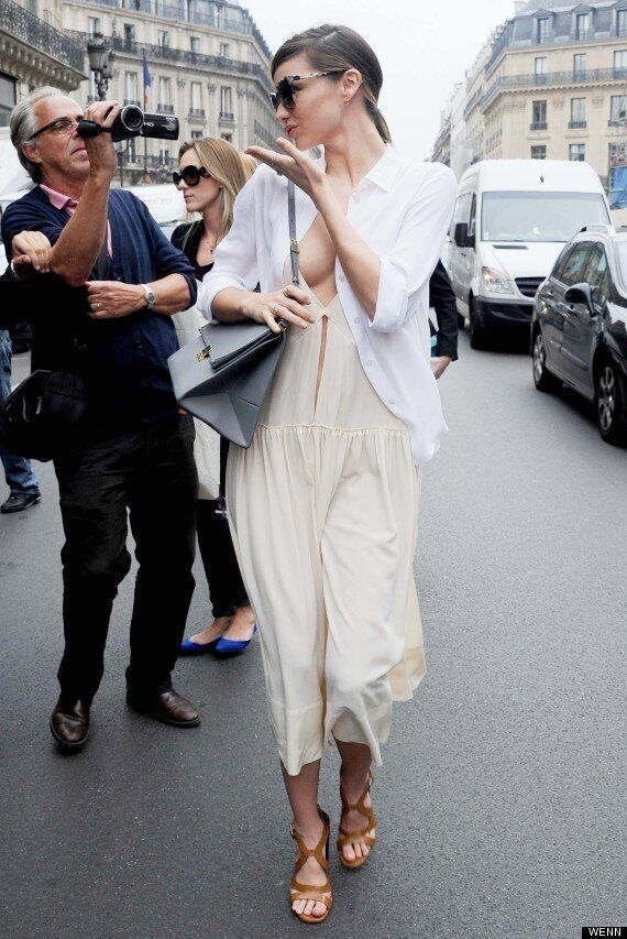 Miranda Kerr Flashes A LOT of Cleavage At Paris Fashion Week