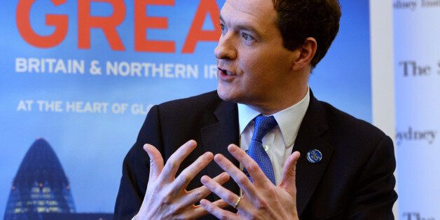British finance minister George Osborne speaks at an event in Sydney on February 21, 2014, where he reiterated...