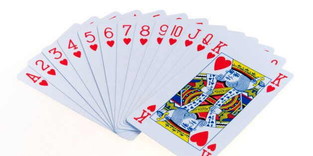 games, toys, playing cards, playing cardscards in the suit of hearts fanned out in numerical order against...