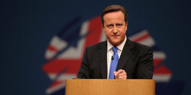 MANCHESTER, ENGLAND - OCTOBER 02: British Prime Minister David Cameron delivers his keynote speech on...
