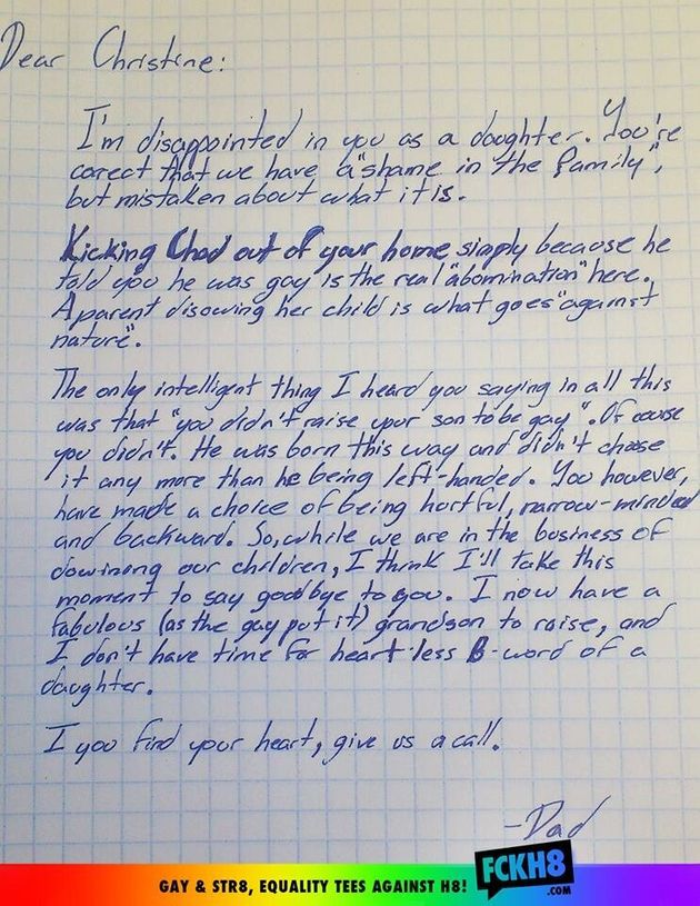 Grandfather Writes Letter To 'Hateful' Daughter After She Kicks Out His Grandson For Being