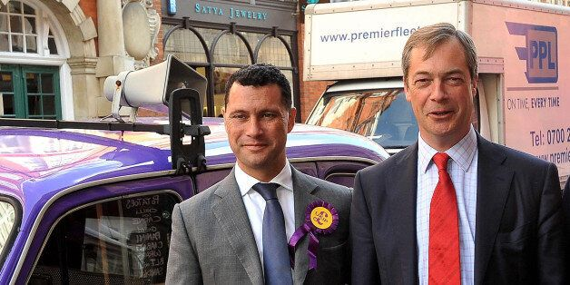(left to right) UKIP candidates Steven Woolfe, party leader Nigel Farage, Richard, Earl of Bradford and...