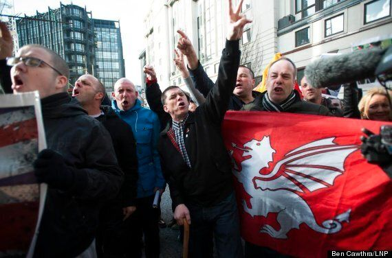 EDL And BNP Erect Gallows Outside Lee Rigby Killers' Sentencing At Old Bailey
