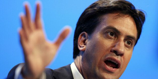 Britain's opposition Labour Party leader Ed Miliband gestures as he speaks during the final day of the...