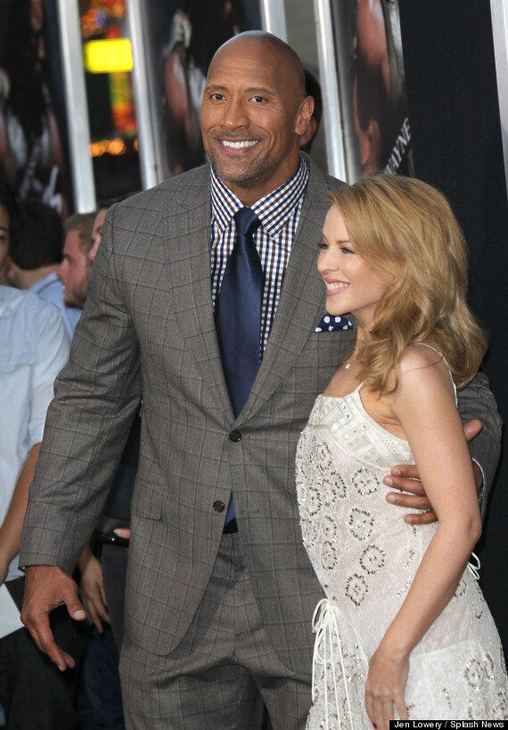 Kylie Minogue Cosies Up To Dwayne 'The Rock' Johnson On The 'Hercules' Premiere Red Carpet