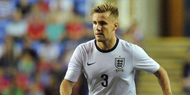 READING, ENGLAND - SEPTEMBER 05: Luke Shaw of England attacks during the 2015 UEFA European U21 Championships...