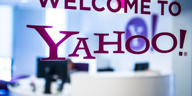 A welcome message sits on the window in the reception area of the sales office at the Yahoo Inc. headquarters...