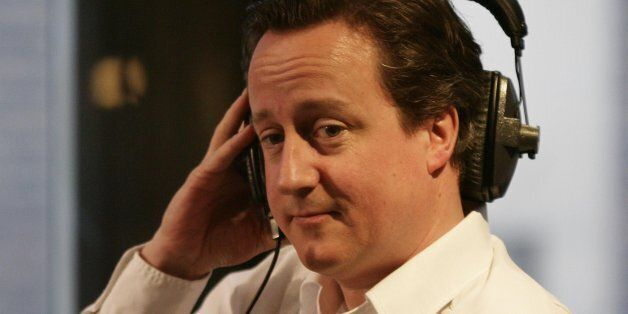 Conservative Leader David Cameron appears as a guest on Christian O'Connell's Breakfast Show, at Absolute...