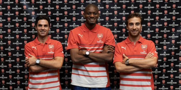 Arsenal players (left to right) Arteta, Diaby and Flamini, who are n New York to play against the Red
