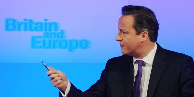 Prime Minister David Cameron makes a speech on Europe, in central London, where he promised an in/out...