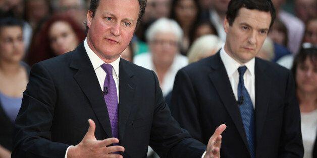 RICKMANSWORTH, ENGLAND - APRIL 22: British Prime Minister David Cameron and British Chancellor George...