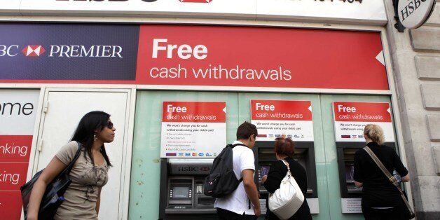 Banking group HSBC announced bumper profits today of 7billion in just six months Picture shows: A HSBC...