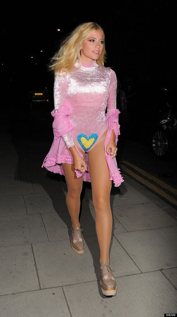 Pixie Lott Steps Out In Bizarre Pink Bodysuit Emblazoned With A Crotch Heart, As You Do