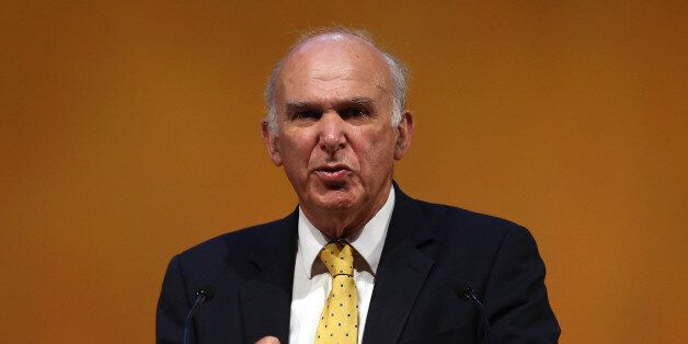 GLASGOW, SCOTLAND - SEPTEMBER 16: Business Secretary Vince Cable speaks to conference during his key-note...
