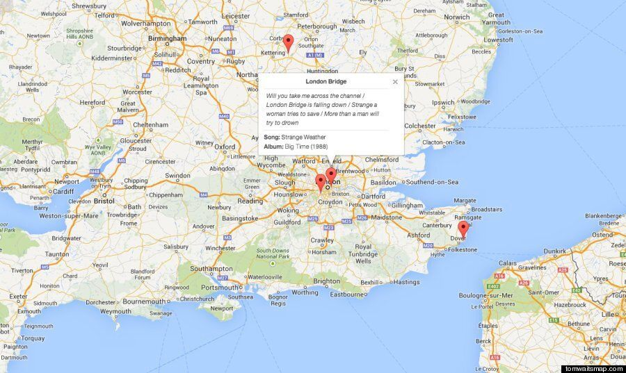 An Interactive Map Of Every Location Mentioned In Tom Waits