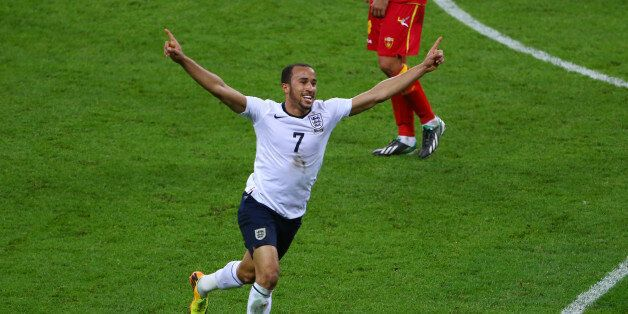 LONDON, ENGLAND - OCTOBER 11: Andros Townsend of England celebrates after scoring his team's third goal...