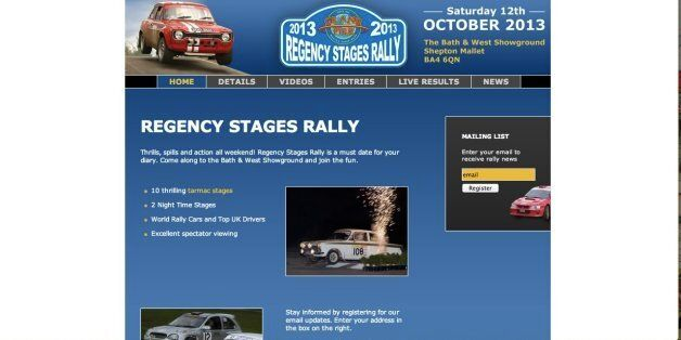 The website for the Regency Stages Rally, where the crash