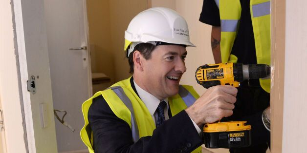 Chancellor George Osborne visits Barratt Homes Help to Buy housing development in Lewisham, south east...