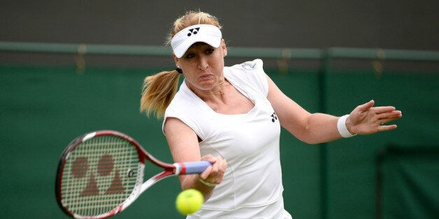 LONDON, ENGLAND - JUNE 24: Elena Baltacha of Great Britain hits a forehand during the Ladies Singles...