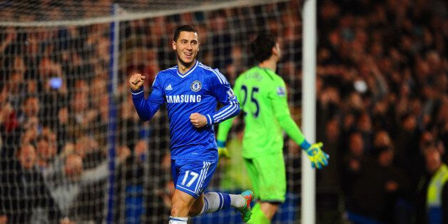 LONDON, ENGLAND - MARCH 08: Eden Hazard of Chelsea celebrates after scoring his team's second goal from...