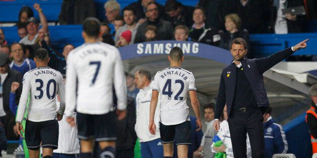 Tottenham Hotspur's English Manager Tim Sherwood (R) gestures during the English Premier League football...